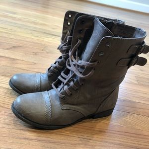 Lace Up Combat Moto Boot Gray Brown